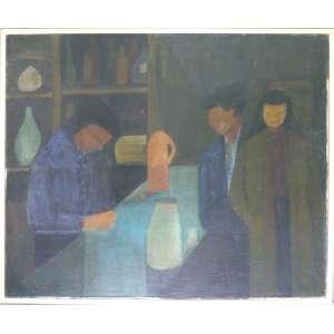 Maria Antonieta de Souza Barros - Ateliê Abstração - Personagens - Óleo sobre tela - 50x60cm (52x62cm com moldura) - 1958 - ACIE - com etiqueta da III Bienal de São Paulo