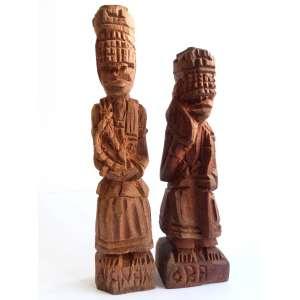 Arte popular - Orixás - Par de esculturas em madeira - 23cm de altura - maior