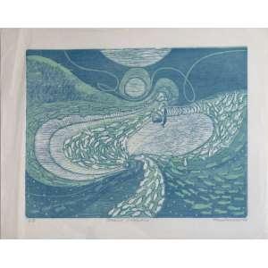 Eliane Santos Rocha - Oceano Atlântico - Xilogravura 7/9 - 38x48cm - 1998 - ACID