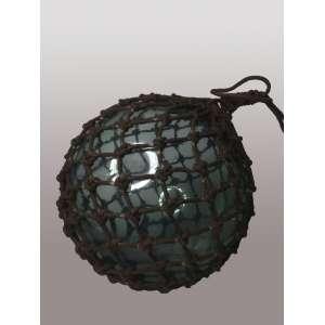 Bóia de rede de pesca - esfera de vidro com rede de algodão - 30 cm diâmetro