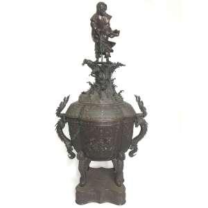 Grande e raro queimador incensário em Bronze japones princípio século XIX - 85,5 cm altura x 43 cm de largura - Base 22,5 cm de largura x 20 cm profundidade