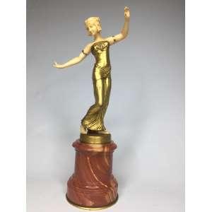 Dançarina bronze e marfim base em mármore - sem assinatura - 29 cm da base