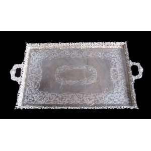 Grande Tabuleiro de Prata de Lei, contraste 833, ourives CONSENTINO - Medidas: Largura total 108 cm x 62 cm , Peso 10 kgr