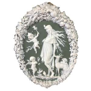 Placa oval séc XIX porcelana Weedwood - 24x18