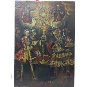 Quadro séc. XIX - Óleo sobre tela - Tema religioso sem assinatura - 84x59