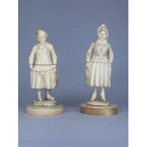 Par de DEEP - figuras em marfim peças de museu - França - 7,5cm - porta agulha
