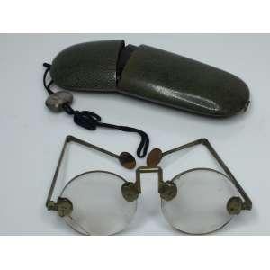 Óculos com lentes de cristal de rocha, suporte de ouvido tartaruga, com caixa de pele de raia - 1810