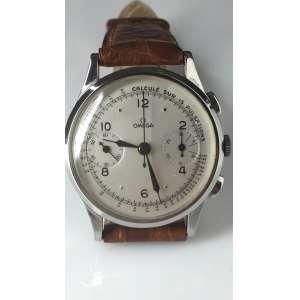 Omega UniCompax Cronômetro, calibre 33.3, caixa aço inoxidável de 37mm, década 40, corda manual em perfeito estado