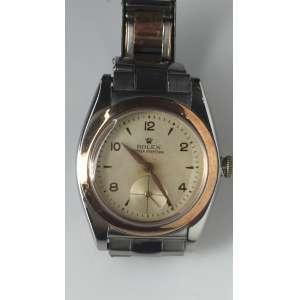 Rolex Oyster Perpetual Bable Back Automático Cronômetro, caixa e pulseira em aço e ouro, pulseira no estado caixa de 31mm, década 40 em perfeito estado, mostrador original segundeiro na posição 6 horas