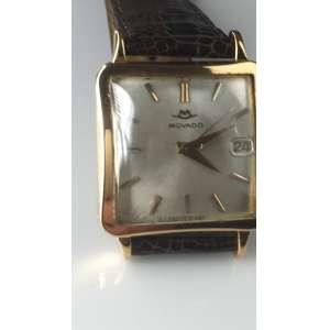 Movado Masculino, caixa quadrada em ouro 18k Date, década 60