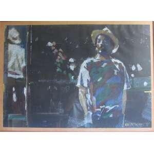 Newton Mesquita, quadro com moldura e vidro, pastel e acrílico , DO LADO DO ESPELHO Assinado e datado no C/I/D data 1988, Medidas Alt 70 x 100 cm , Bom estado
