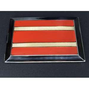 Linda Cigarreira de prata francesa com esmalte e laca - 11x08 cm