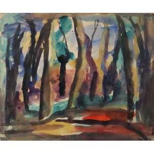"""Mário Zanini - aquarela sobre cartão - 50 x 65 cm - """"Floresta"""" - ass. inferior direito"""