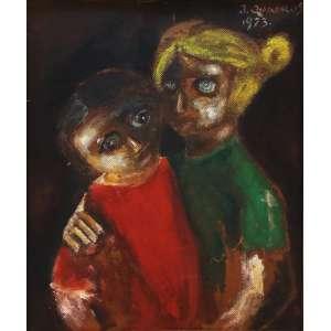 """Janio Quadros - óleo sobre eucatex - 45 x 37 cm - """"Crianças"""" - ass. inferior direito - 1973"""