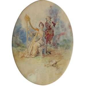 """Oscar Pereira da Silva - aquarela sobre papel - 30 x 23 cm - """"Casal com Harpa e Flauta"""" - ass. inferior direito - 1921"""