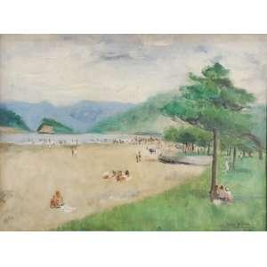 """Renée Lefèvre - óleo sobre madeira - 30 x 40 cm - """"Praia"""" - ass. inferior esquerdo - 1947 - Ex. acervo da família"""