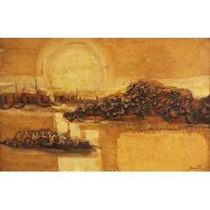 """Erico da Silva - óleo e relevo em pigmentos - naturais sobre tela - 70 x 110 cm - """"Sem Título"""" - ass. inferior direito - déc. 70"""