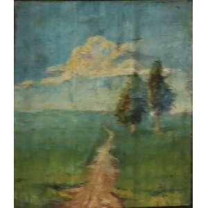 """Bonadei, Aldo - óleo sobre tela colada sobre cartão - 13 x 11 cm - """"Duas Árvores"""" - Com certificado - de Soraia Cals - Escritório de Arte"""