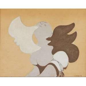 """Milton Dacosta - Têmpera sobre tela - 19 x 24 cm - """"Figura e Pássaro"""" - ass. inferior direito"""