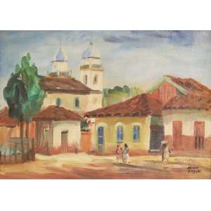 """Mário Zanini - Óleo sobre tela - 33 x 46 cm - """"Casario com Igreja"""" - ass. inferior direito"""