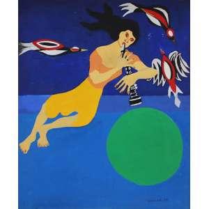 """Clóvis Graciano - óleo sobre tela - 61 x 50 cm - """"Moça da clarineta, pássaros e lua verde"""" - ass. inferior direito - 1978 - Com certificado do Projeto Graciano"""