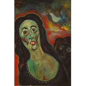 """Chanina, Luwisz - óleo sobre madeira - 37 x 25 cm - """"Figura Feminina"""" - ass. superior direito - 1965"""