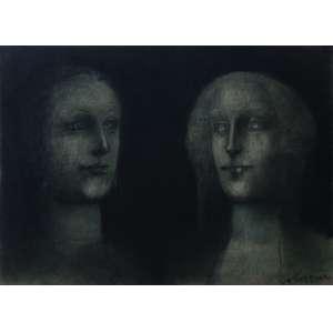"Marcelo Grassmann - crayon sobre papel - 48 x 68 cm - ""Rostos"" - ass. inferior direito - 1995"