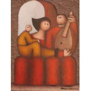 """Jesus Leuus - acrílica sobre madeira - 30 x 22 cm - """"Love and Music"""" - ass. inferior direito - 1980 - Com cachê da Art Collectors Gallery - México"""