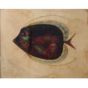 """Aldemir Martins - nanquim e guache sobre papel - 48 x 63 cm - """"Peixe"""" - ass. inferior direito"""