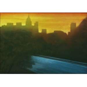 """Gregório Gruber - óleo sobre tela - 100 x 140 cm - """"Amanhecer"""" - ass. inferior esquerdo - 1988 - Com cachê da Galeria São - Paulo e do Gabinete 144"""