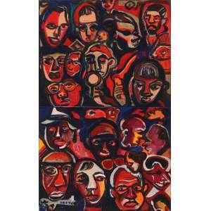 """Gerchman, Rubens - acrílica e óleo sobre tela - 66 x 41 cm - """"Rostos"""" - ass. centro inferior - 1982 - Reproduzido no livro Brazilianart VII – pág. 420"""