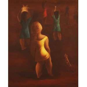 """Teruz, Orlando - óleo sobre tela - 92 x 73 cm - """"Figuras com Lata D'água na cabeça"""" - ass. inferior direito"""