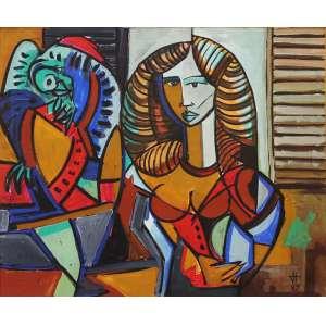 """Jesus Fuertes - óleo sobre tela - 80 x 100 cm - """"Figura Feminina"""" - ass. inferior direito - 1985"""