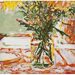 """Newton Mesquita - acrílica sobre tela - colada sobre madeira - 100 x 100 cm - """"Flores"""" - ass. inferior direito"""