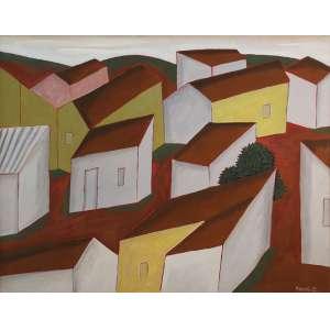 """Fang, Chen Kong - óleo sobre tela - 80 x 100 cm - """"Casario"""" - ass. inferior direito - 1987"""