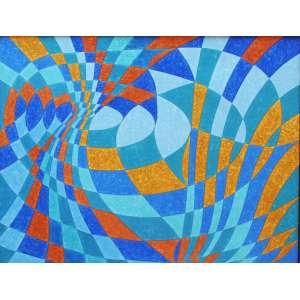 """Aldir Mendes de Souza - acrílica sobre tela - 100 x 130 cm - """"Buraco Negro – Azul Cobalto"""" - ass. verso - 2006"""