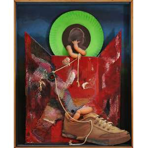 """Edmundo Valladares - assemblage em caixa - 66 x 62 cm - """"Identidade 12"""" - Com cachê da Atica Galeria de Arte - Buenos Aires"""