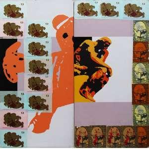 """Carlos Zibel - técnica mista com - intervenção de grafite - do artista Jey - 180 x 180 cm - """"Ursinho e Pensador"""" - ass. verso - 2005 - Participou da exposição - do artista """"Articulando - Direções"""" e reproduzida - no catálogo"""