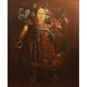 """Mário Gruber - óleo sobre tela - colado sobre madeira - 73 x 60 cm - """"Série Meninas"""" - ass. inferior direito - 1980"""
