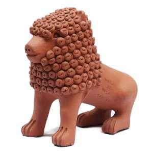 """Nuca de Tracunhaém - escultura em terracota - 27 x 30 x 13 cm - """"Leão"""" - ass. - P/e"""
