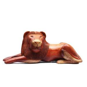 """Antônio Julião - escultura em madeira - 81 x 35 cm - """"Leão"""" - ass. - Com certificado do artista"""