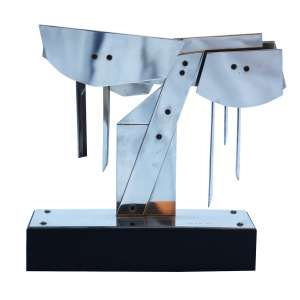 """Nicolas Vlavianos - escultura em metal - 28 x 26 x 10 cm - """"Árvore"""" - ass. - 1984"""