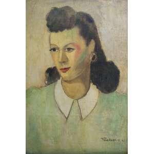 """FRANCISCO REBOLO - óleo sobre tela - 49,5 x 32,5 cm - """"Figura feminina"""" - ass. inferior direito - 1941 -"""
