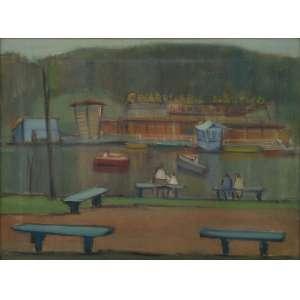 """IANELLI, ARCÂNGELO - óleo sobre tela - 46 x 61 cm - """"Parque com Lago"""" - ass. inferior direito - 1958 -"""
