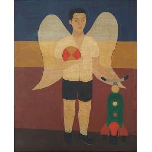 """DJANIRA DA MOTTA E SILVA - óleo sobre tela - 63 x 52 cm - """"Anjo com Brinquedos"""" - ass. inferior direito - 1951 -"""