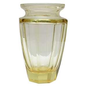Floreiro cristal oitavado facetado amarelo, Art Déco. h = 21 cm - Europa, anos 30