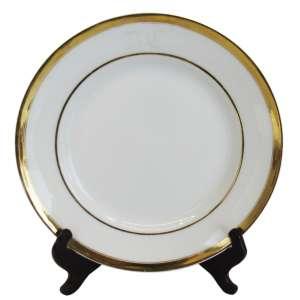 Serviço pratos fundos (11) porc. borda filetada ouro e monograma. d = 22,5 cm - Europa, séc. XX