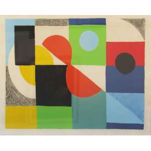"Sonia Delaunay (1855, Hradyzk – 1979, Paris) Gravura (17/75) 62 x 82 cm, ""Composition Abstract"", ass. CID Europa. séc. XIX"