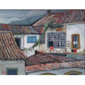 Omar Pellegatta - óleo sobre tela 40 x 50 cm Fundo de Casas ass. CIE e verso etiqueta no verso 1º SNAP Benedito Calixto