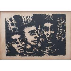 Claudio Kupperman - litografia 45 x 61 cm Rostos ass.CID t. 4/6 1963